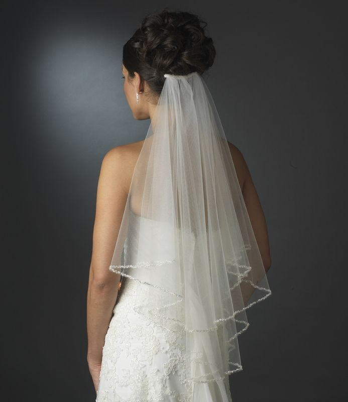 2 Layer Veil with Beaded Pearl Edge