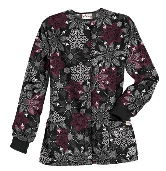 Ua Fancy Snowflake Black Print Scrub Jacket Style