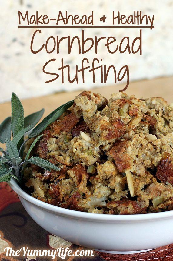 Make-Ahead & Healthy Cornbread Stuffing. A 50-year-old favorite family recipe. www.theyummylife.com/Cornbread_Stuffing