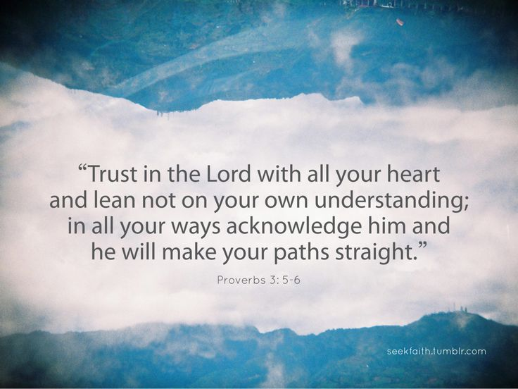 Proverbs 3:5-6 Trust in the Lord with all your heart and lean not on your own understanding; in all your ways acknowledge Him and He will make your paths straight.