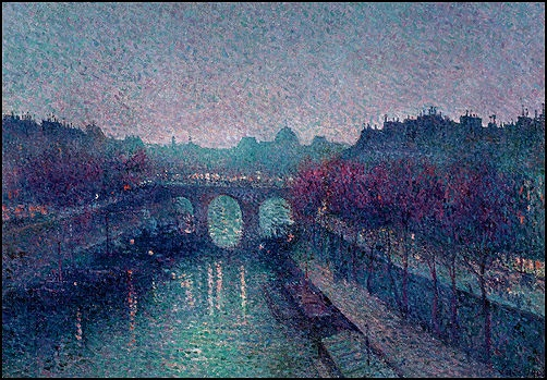 Another gorgeous painting by Pointilist Maximilien Luce who loved to do night scenes.