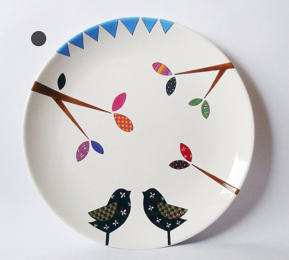 We gotta have plates like this!!!: Birds Wall, Hanging Plates, Paintings Inspiration, Wall Hanging, Art Kitchens, Wall Plates, Simply Ceramics, Two Birds, Crafty Ideas