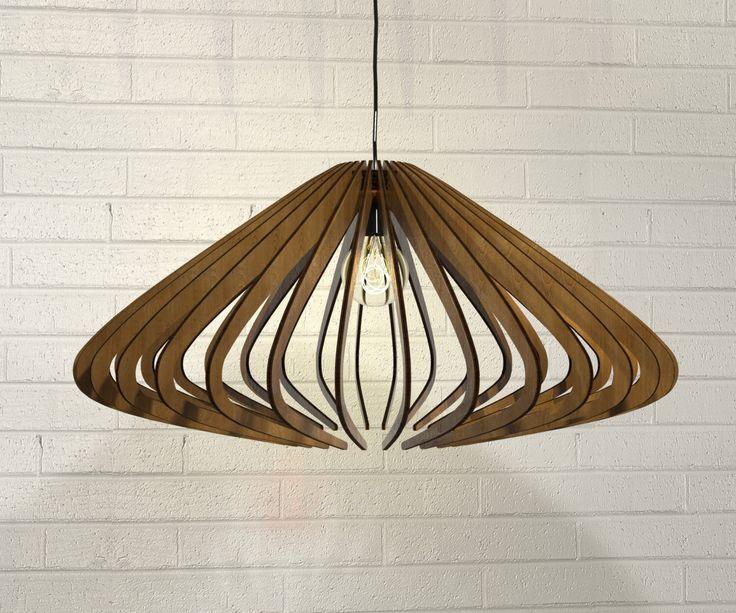 wood Pendant Light lasercut Chandelier lamp Handmade plywood hanging ceiling cup…