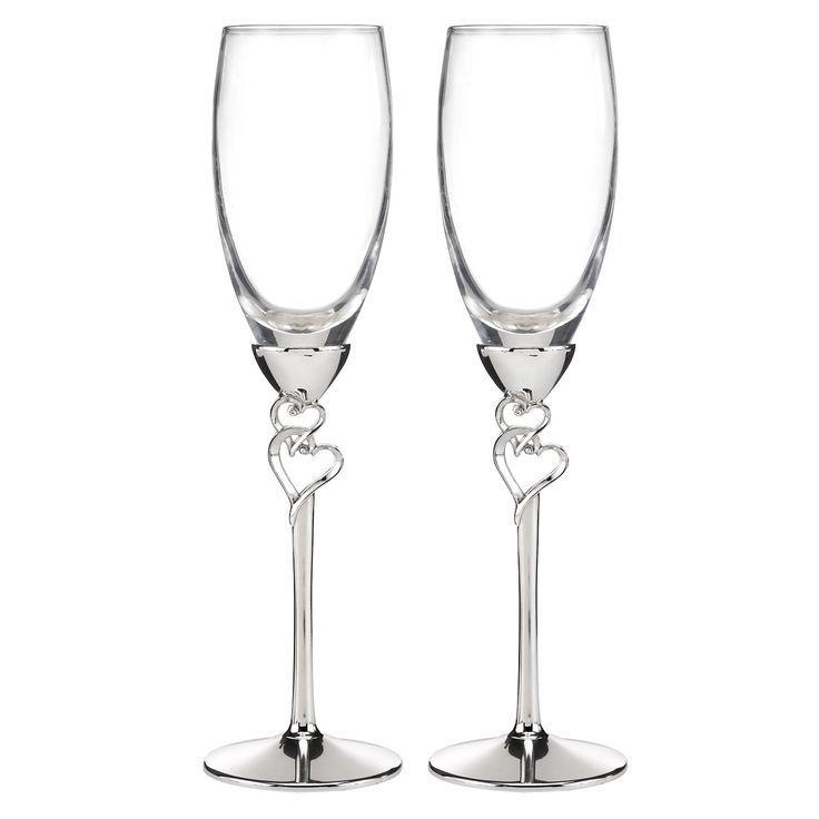 """Copas para Boda, """"blessed love"""" con detalles de corazones en el tallo, baño de plata #copasconestilo #tiendaonline #boda #bodas2017 #bodasconestilo"""