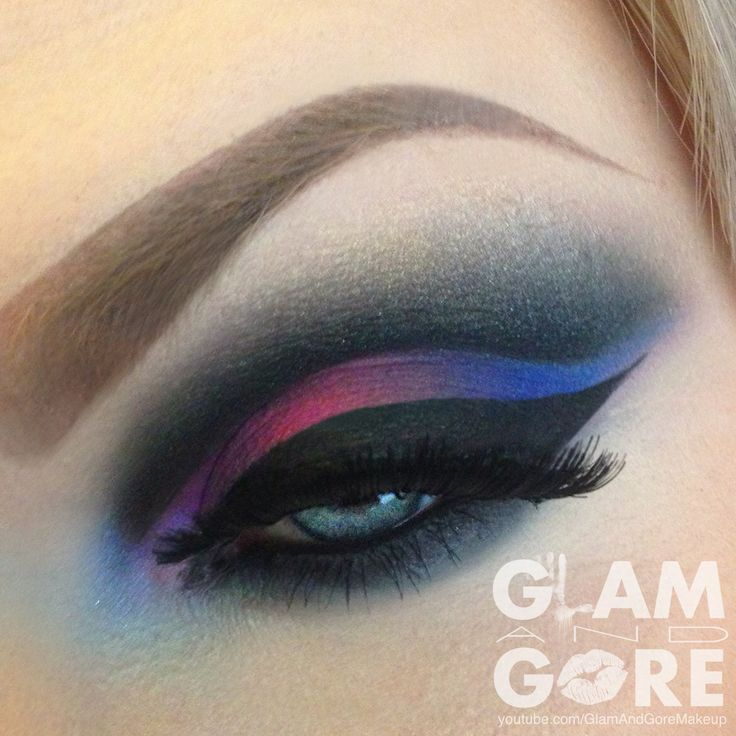 Colorful and dramatic cut crease eye makeup look.    For more makeup looks and tutorials: www.instagram.com/Mykie_      www.youtube.com/GlamAndGoreMakeup