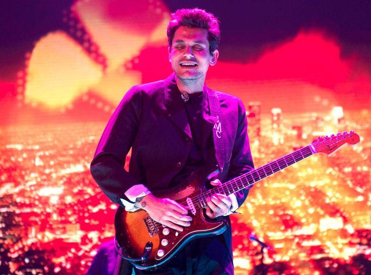 John Mayer performing at his concert in Toronto, Canada.