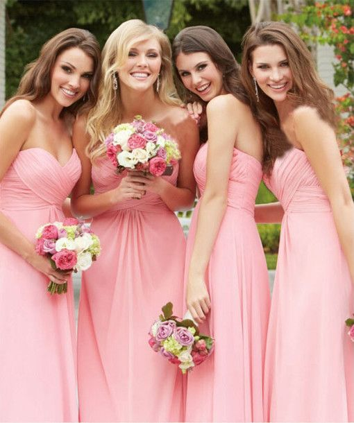 2016 bridesmaid dress, pink bridesmaid dress, long bridesmaid dress, sweetheart bridesmaid dress, elegant bridesmaid dress, chiffon bridesmaid dress, discount bridesmaid dress, cheap bridesmaid dress, #2016 #pink #long #cheap
