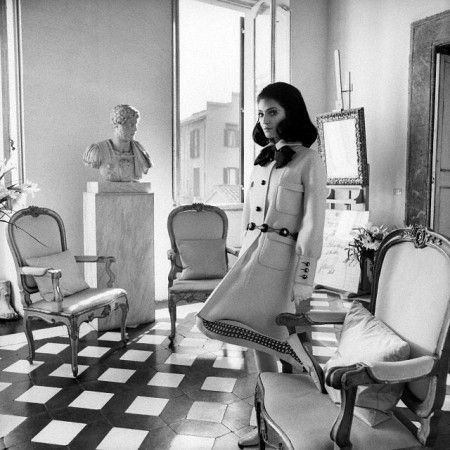 Benedetta Barzini in the apartment of Cy Twombly, Valentino coat. Rome, Italy, March 1968