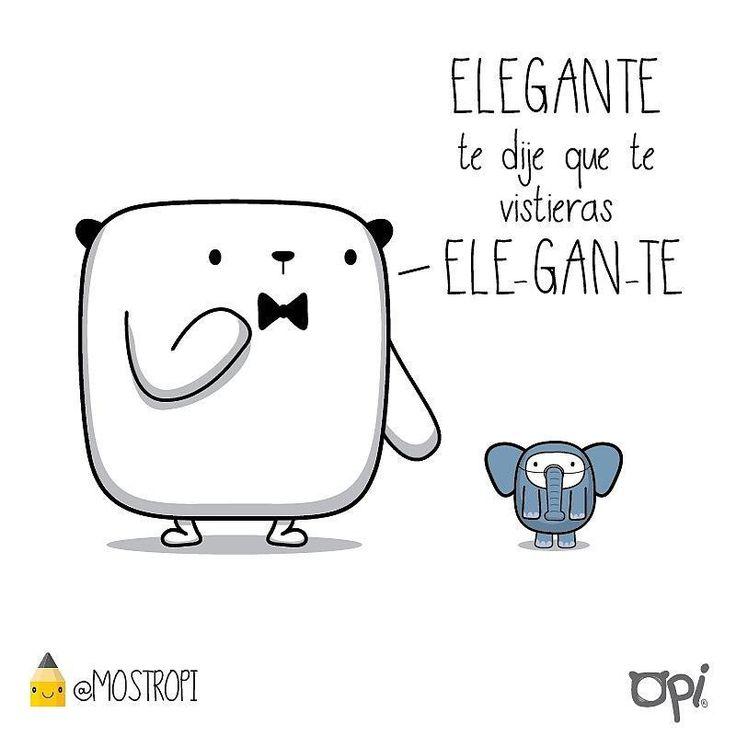 Elegante..  #opi #kipi #cute #kawaii #mostropi #ilustración #elefante