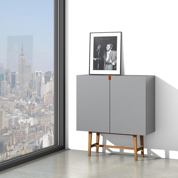 Uniek handgemaakt modern dressoir grijs, frame uitgevoerd in eikenhout. Stoop Design meubels op maat - Leon Stoop meubelmaker / timmerman - Lisse