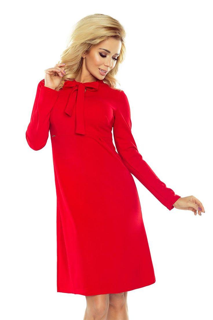 Sukienka Trapezowa z Długim Rękawem Czerwona NU158-2