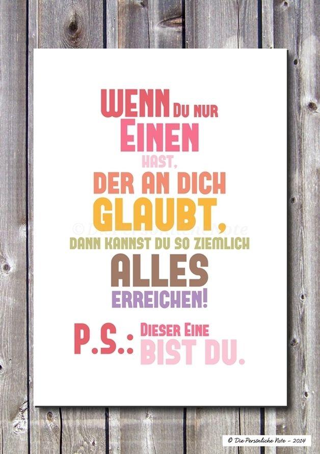 Druck/Wandbild/Print: Du Brauchst Nur EINEN. Moderne TypografieSprüche ...