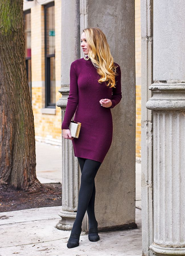 Bodycon Sweater Dress Tights Night And Pump