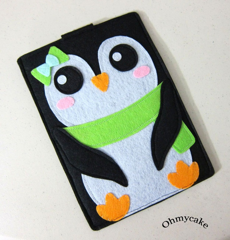 "Handmade Felt Kindle Case - Kindle 3 Cover - Kindle Fire Case - Kindle Touch Cover - Nook Case - Kindle Felt Sleeve - ""Girly Penguin"" Design. $35.00, via Etsy."