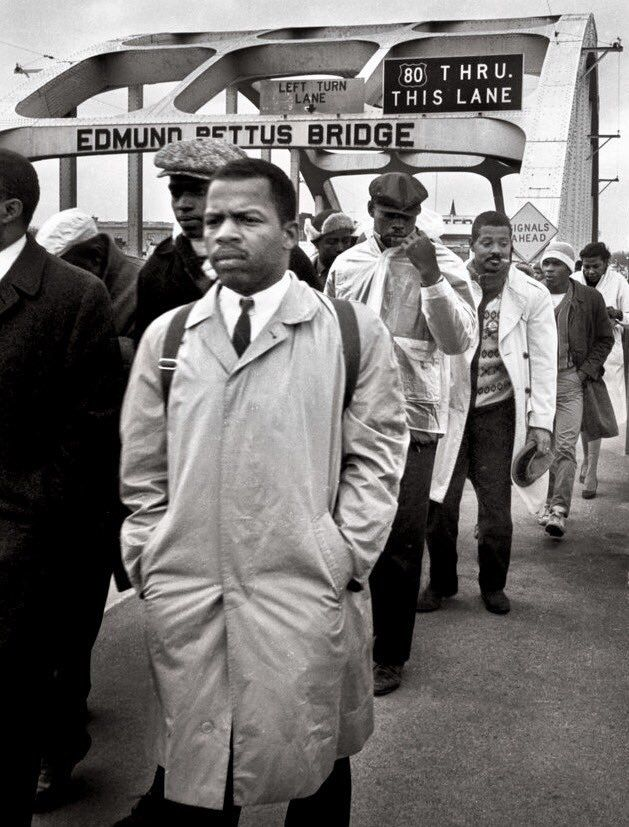 John Lewis and other marchers on the Edmund Pettit Bridge in Selma -- March 7, 1965