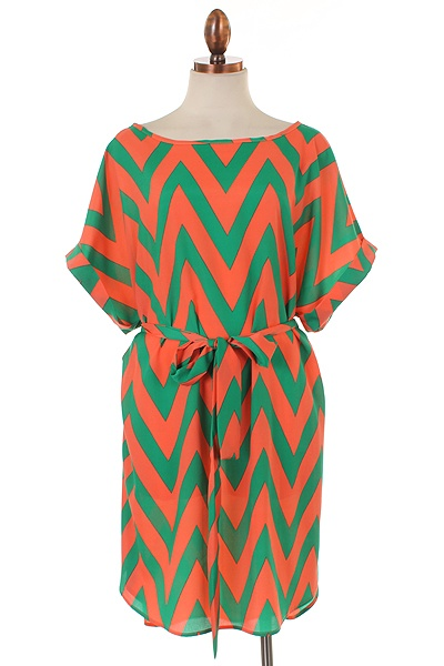 Plus Size Chevron Belted Dress in Coral/Green