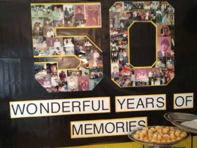 Wonderful years of memories 50th birthday party decoration.  See more decorations and 50th birthday party ideas at www.one-stop-party-ideas.com