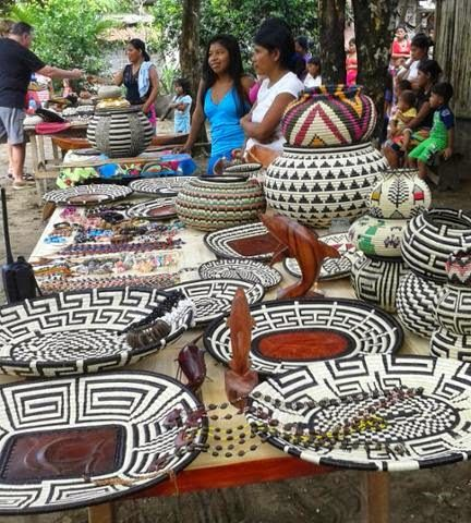 Baskets on sale at a market in Puerto Piña in the Darién province of #Panamá Panama Yacht and Fishing Charters | Luxury yacht vacations in Panama - cruising, island-hopping, sportfishing.