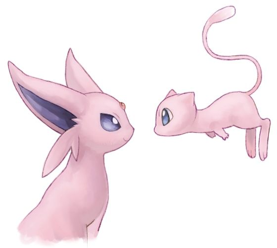 Espeon & Mew. Don't forget to like this Pokemon Facebook page for more cool Pokemon content: http://www.facebook.com/shinydragonairx