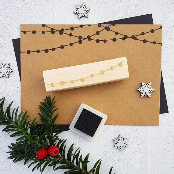 Christmas String of Lights Rubber Stamp by Skull and Cross Buns