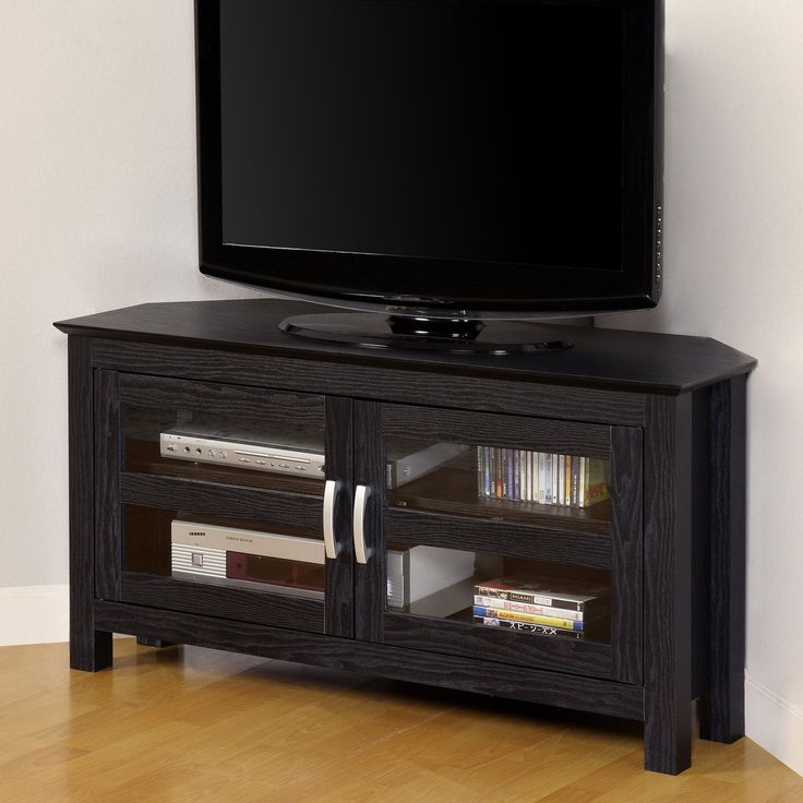 corner tv stands for small spaces. compton black corner tv stand | from hayneedle.com, $134, 44w x 16d tv stands for small spaces d