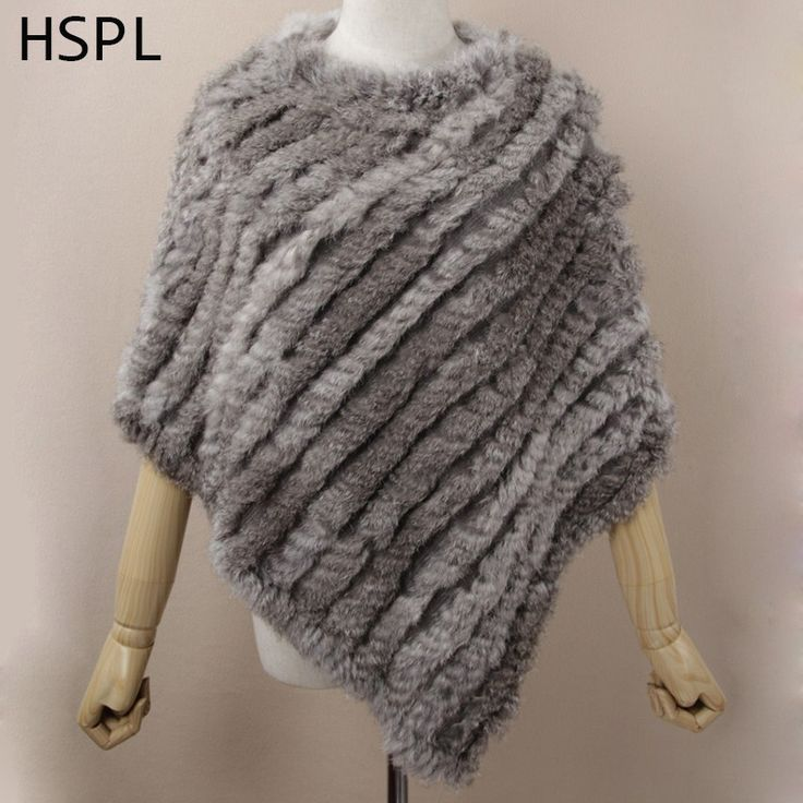 HSPL Fur Poncho 2017 Autumn Real Rabbit Hot Sale Triangle Knitted Women Pullover Lady Pashmina Wrap poncho pele de coelho #CLICK! #clothing, #shoes, #jewelry, #women, #men, #hats