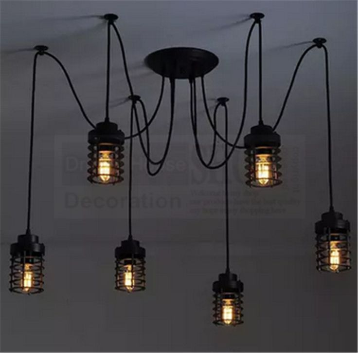 Livraison gratuite 6-8-10-12 bras cage edison lustre 2*0.75mm PVC fil vintage fer cage pendentifs araignée pendentif luminaire(China (Mainland))