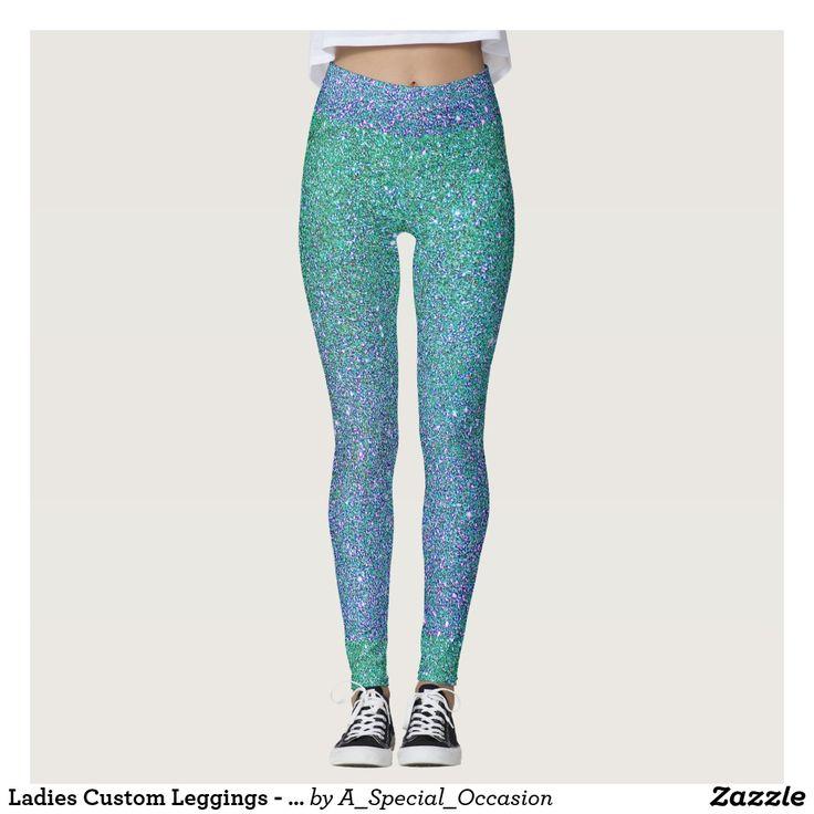 Ladies Custom Leggings - Blue-Green Sparkle Design
