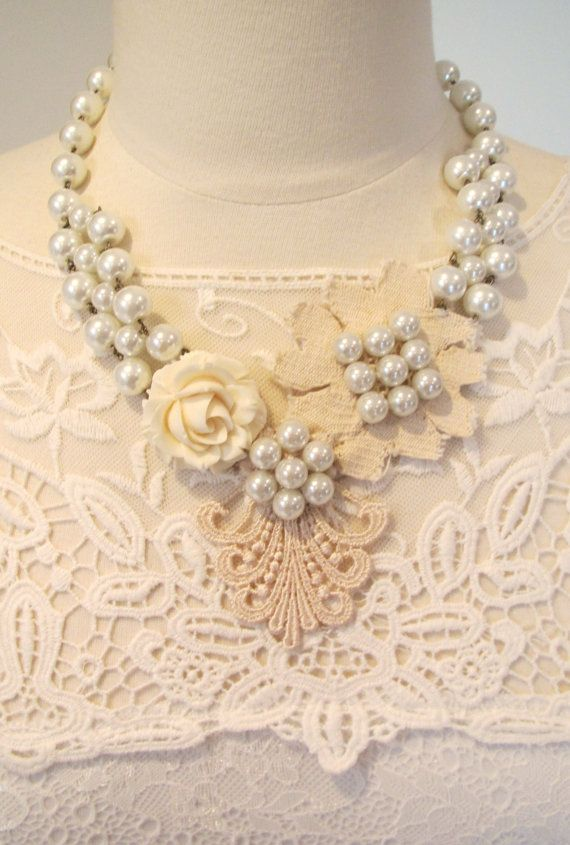 Bridal wedding necklace statement lace necklace by kirstenann, $150.00