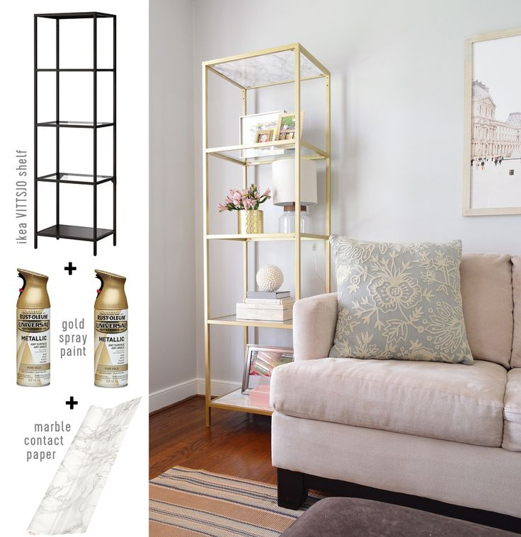 neutral living room gold ikea shelf hack with marble contact paper