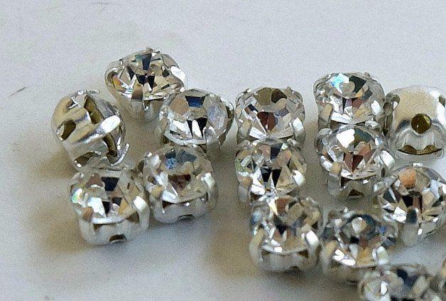 Strass - 10 Strass bianco crystal incastonati - un prodotto unico di GIULI2 su DaWanda