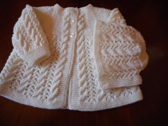 Pure Merino Quality Hand Knit Vintage Style Baby Matinee Jacket / Sweater and matching hat 0 - 3 months