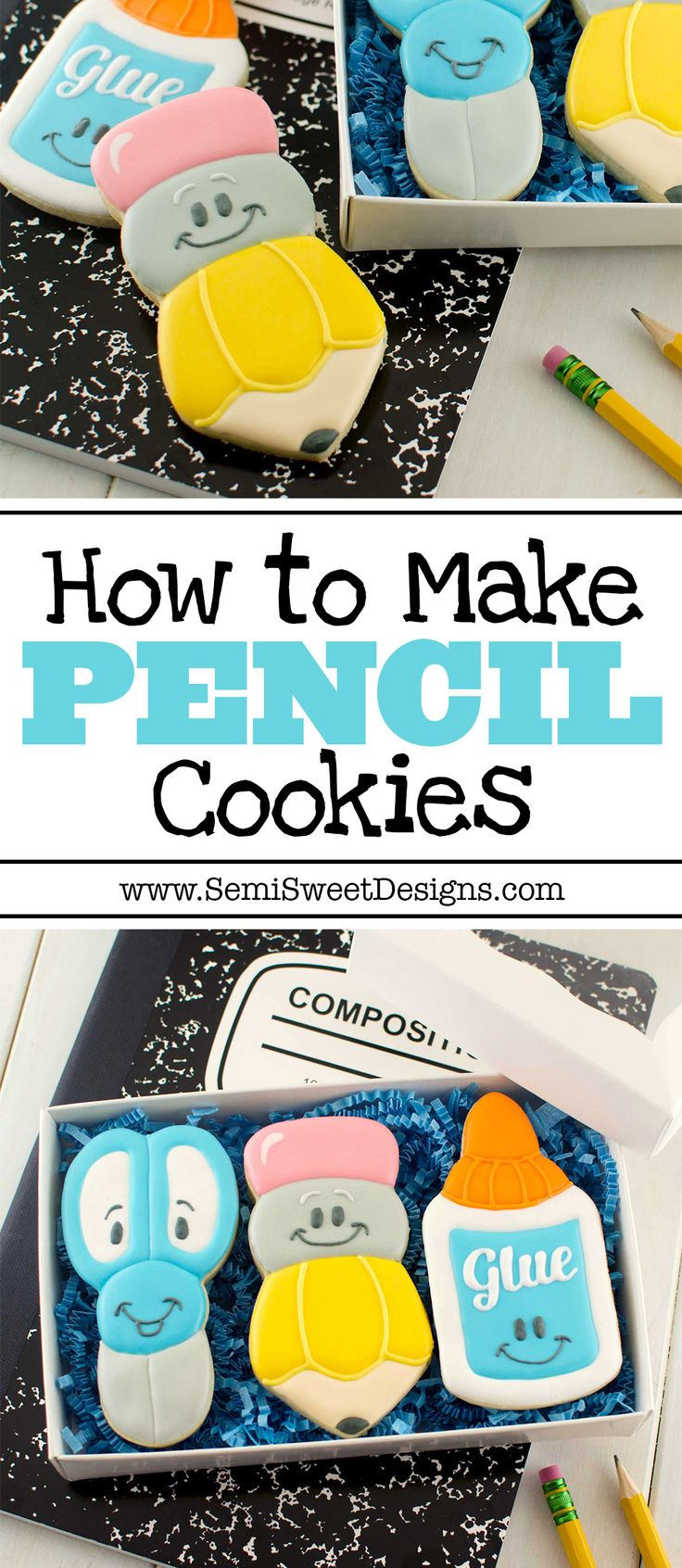 A detailed tutorial for decorating pencil cookies with royal icing. Recipes and free design template available! Perfect for back-to-school season.