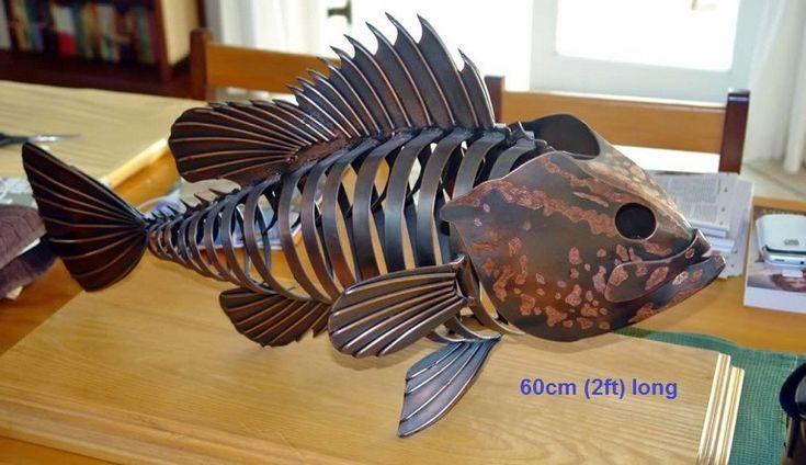 metal fish sculpture life size scrap metal art for sale