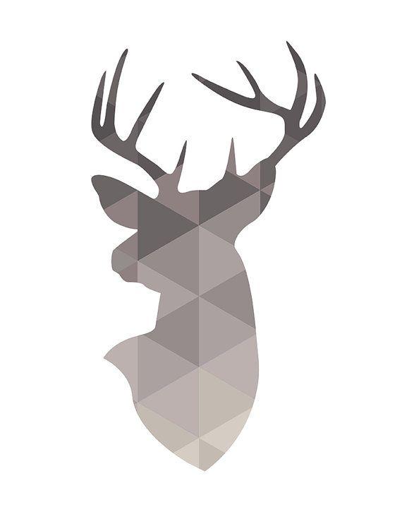 Deer Head Deer Wall Art Geometric Deer Neutrals Deer par PxlNest