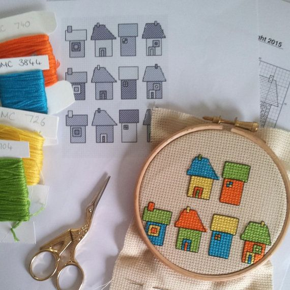 Cross stitch pattern Little houses £3.00by CraftwithCartwright
