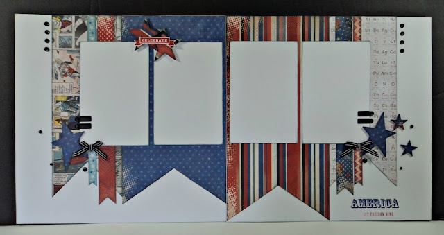 CTMH Superhero Club Pages for July.Ctmh Double Pages Layout, Scrapbook Ideas, 4Th Of July Layout, Rose Blossoms, Ctmh Double Layout, Scrapbook Layout, Scrapbook Double, Scrapbook Pages, Blossoms Legacy