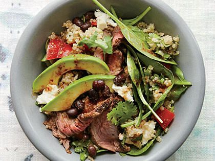 Black Bean Quinoa Salad with Chipotle Steak | We love the chipotle-rubbed sirloin, but this salad is a wonderful use for any leftover steak.