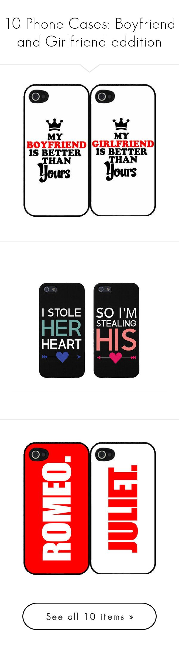 """10 Phone Cases: Boyfriend and Girlfriend eddition"" by xglitzycupcakex ❤ liked on Polyvore featuring accessories, tech accessories, phone cases, phone, cases, couples, iphone cases, apple iphone case, galaxy iphone case and iphone cover case"