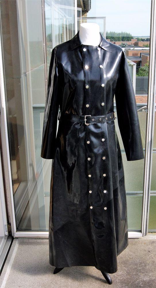 Black Rubber Raincoat Coat Catsuit Gummi Mantel  Regenmantel Impermàble Latex #RubberRaincoat