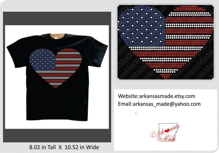 American Flag in the shape of a heart custom rhinestone shirt, American flag shirt, 4th of July, America shirt, flag shirt, rhinestone shirt - pinned by pin4etsy.com