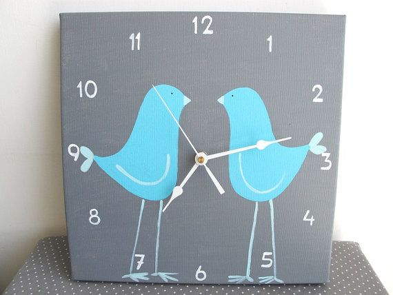 Childrens Wall clock- Two blue love birds - Grey clock for nursery/ kids room/ kitchen clock - Hand painted on canvas