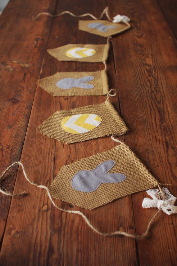 Burlap Easter Banner, Chevron Eggs and Bunnies- Ready to Ship