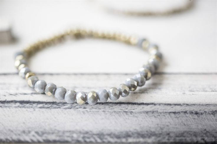 The Little Black Dress Boutique Limited. Tutti & Co Stretch Bracelet with Grey Glass Beads - BR265G