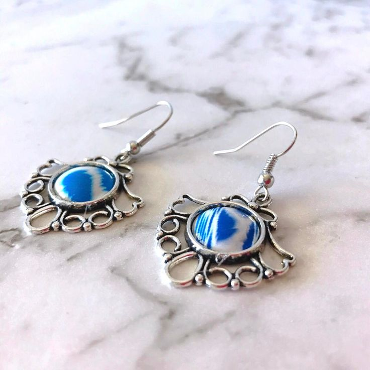 """Beautiful blue earrings hand printed, handmade from Vivid Sister """"Pretty in Blue. Slowly it's all coming together """""""