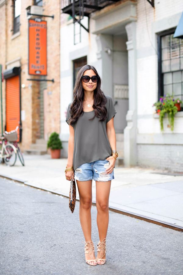 Denim Cut Offs - Necessary Clothing top c/o // Rag & Bone shorts Aquazzura heels // Clare Vivier clutch Thursday, August 14, 2014