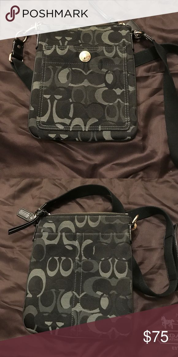 Black signature Coach travel satchel Small black signature Coach travel satchel with silver embellishments . Gently used Coach Bags Satchels
