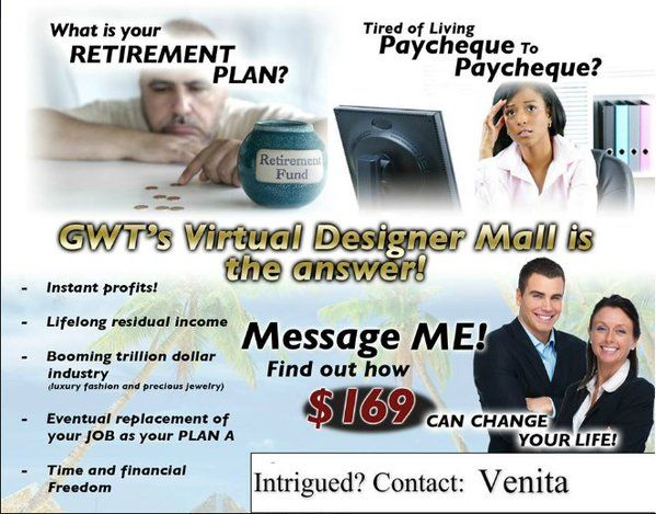 Is Your MLM Co paying you enough? GWT have the best compensation plan and true residual income. www.gwtcorp.com/veni/opportunity.html