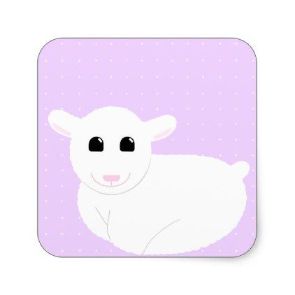 Sweet Smiling Lamb Drawing with Polka Dots Square Sticker - black gifts unique cool diy customize personalize