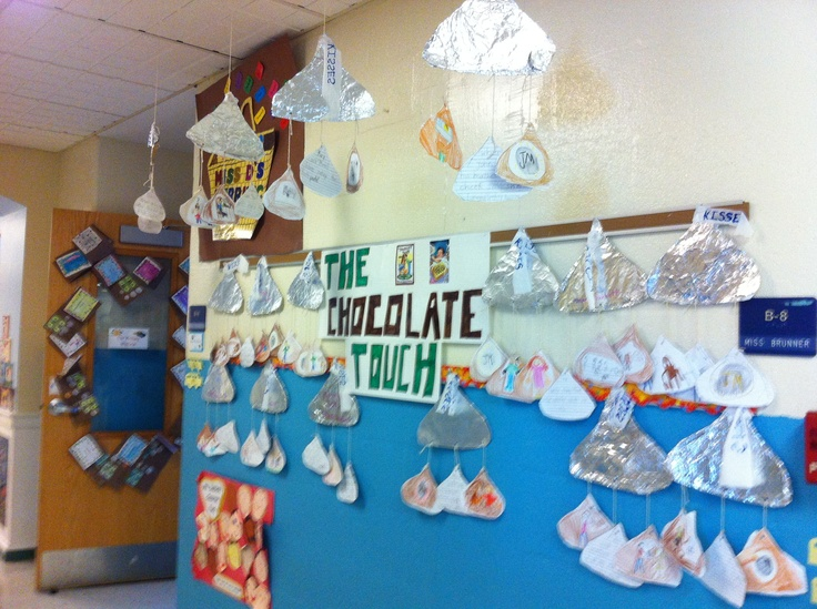 Hershey Kiss mobiles from the novel The Chocolate Touch